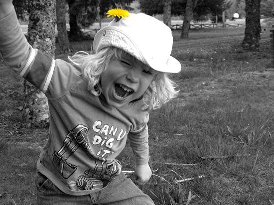 Boy black white dandelion