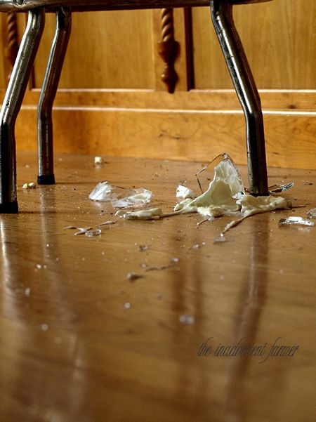 Glass broken kitchen floor